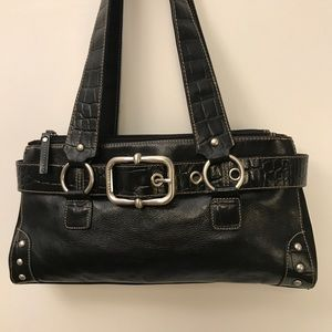 Franco Sarto Black Leather Shoulder Hand Bag
